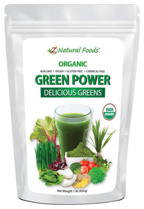 Green Power - Organic Delicious Greens Vegetable, Leaf & Grass Powders Z Natural Foods