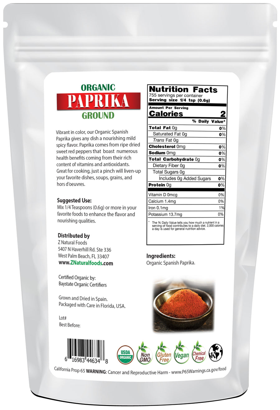 Ground Paprika - Organic Seasonings & Spices Z Natural Foods