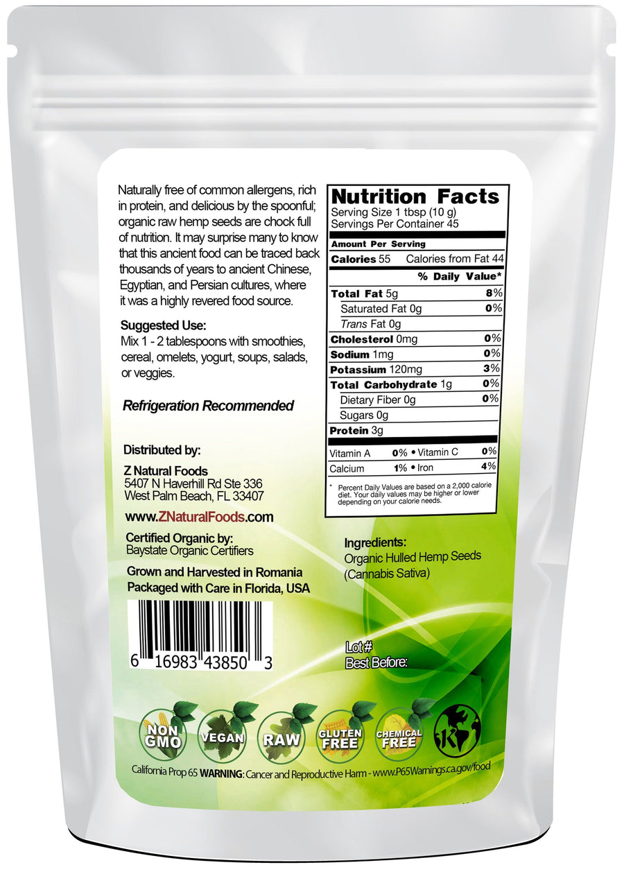 Hemp Seeds - Raw, Organic, Shelled Nuts & Seeds Z Natural Foods