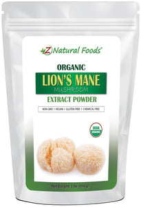 Lion's Mane Mushroom Extract Powder - Organic Mushroom Powders Z Natural Foods