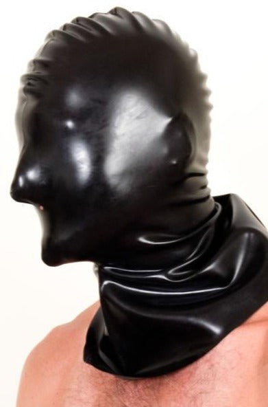 Shoulder Length Latex Hangman's Mask with Nose Holes | Chez Noir | Latex Sex Toys, Fetish Wear and More!