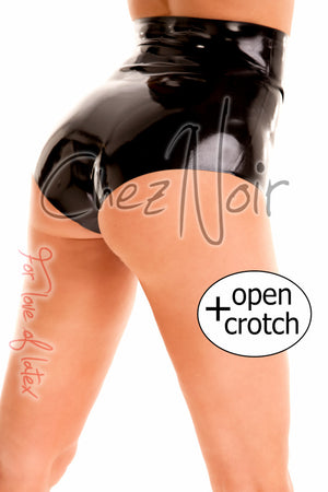 High Waisted Latex Briefs with Open Crotch | Chez Noir | Latex Sex Toys, Fetish Wear and More!