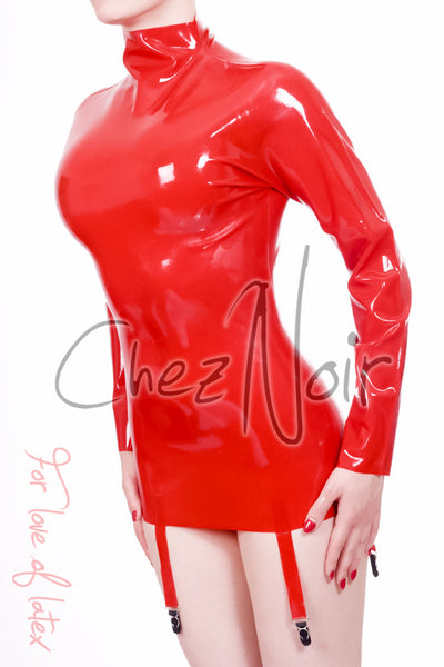 Latex Mini Dress with Long Sleeves & Suspenders | Chez Noir | Latex Sex Toys, Fetish Wear and More!