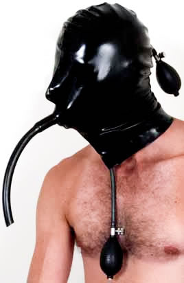 Inflatable Latex Hood with Small Inflatable Gag & Breath Tube