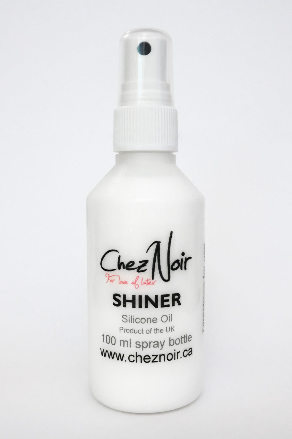 A bottle of latex shiner, a latex dressing aid.