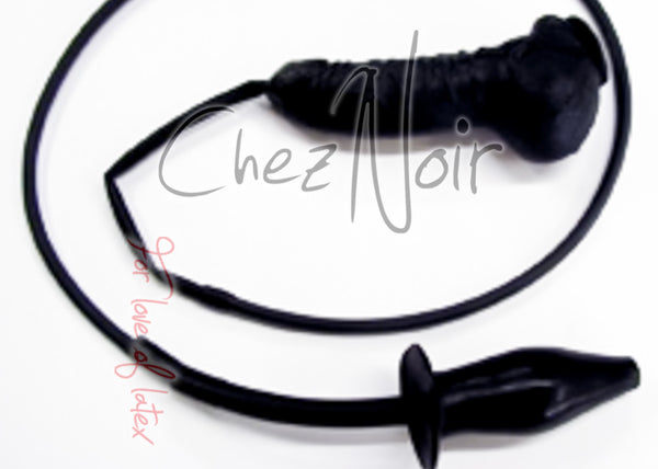 Anatomical Penis Sheath & Tube to Solid Enema Plug | Chez Noir | Latex Sex Toys, Fetish Wear and More!