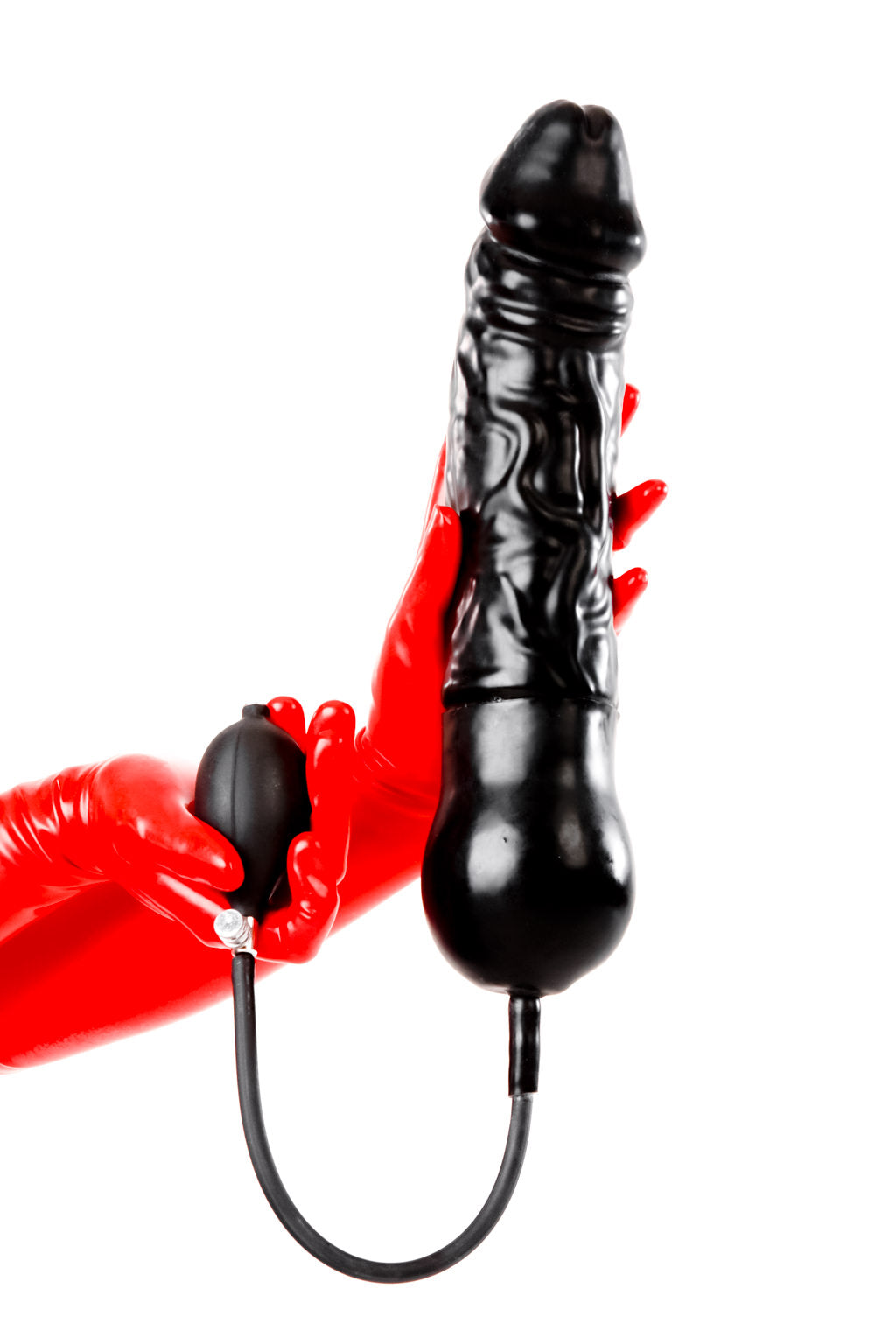 Red latex gloves holding an inflatable gargantuan dildo.
