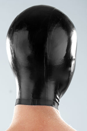 A person wearing a micro breathe latex zentai enclosure hood.