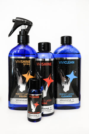 A collection of ViviShine latex care and cleaning products.