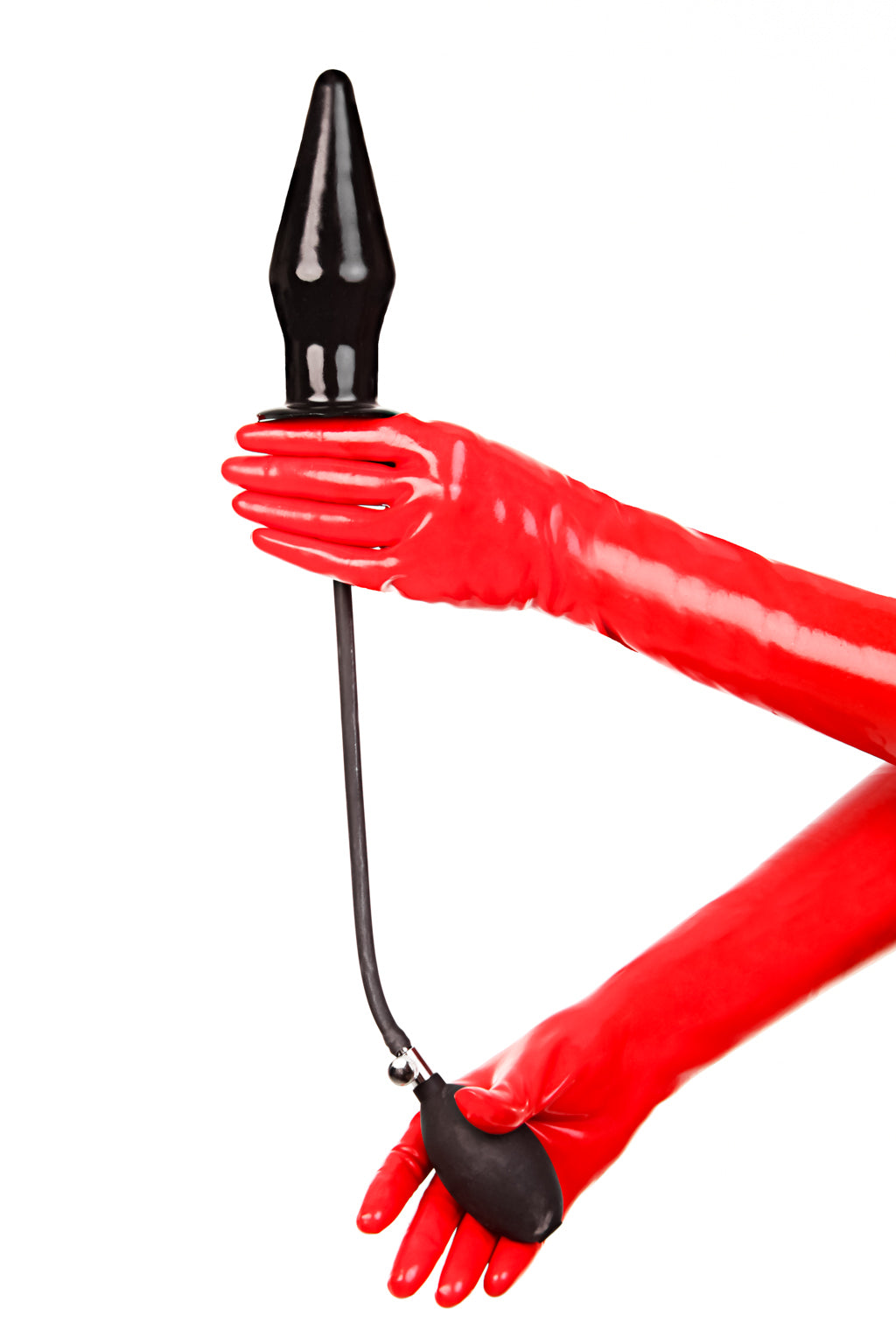 Red latex gloves holding an extra large inflatable butt plug.