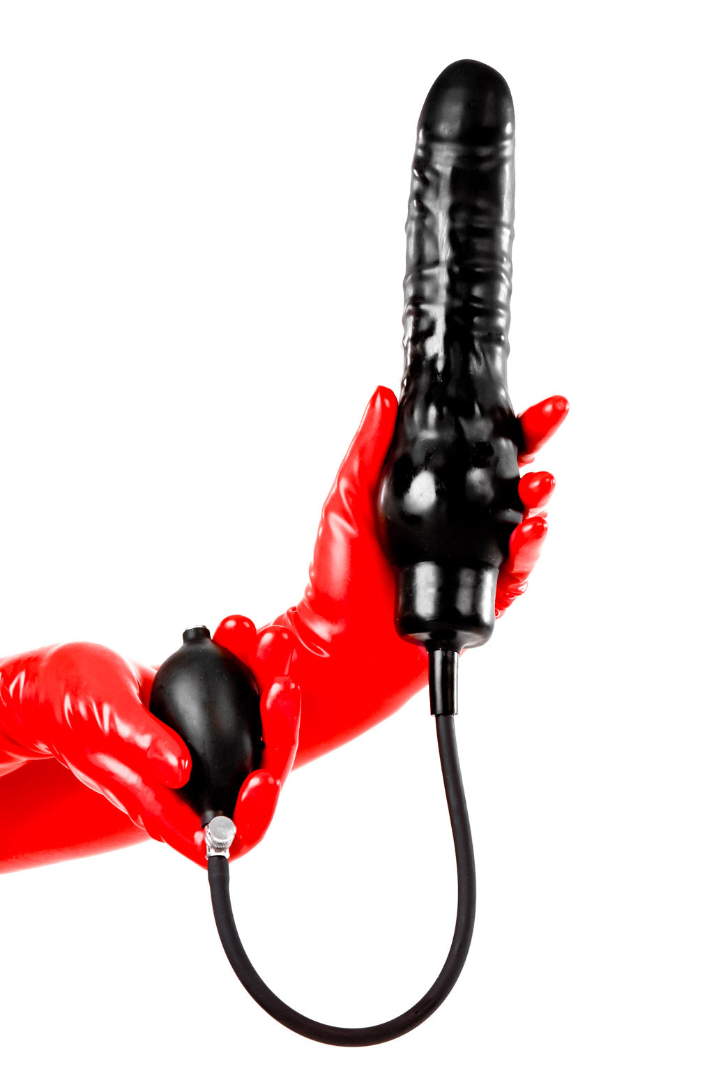 Red latex gloves holding a large inflatable dildo.