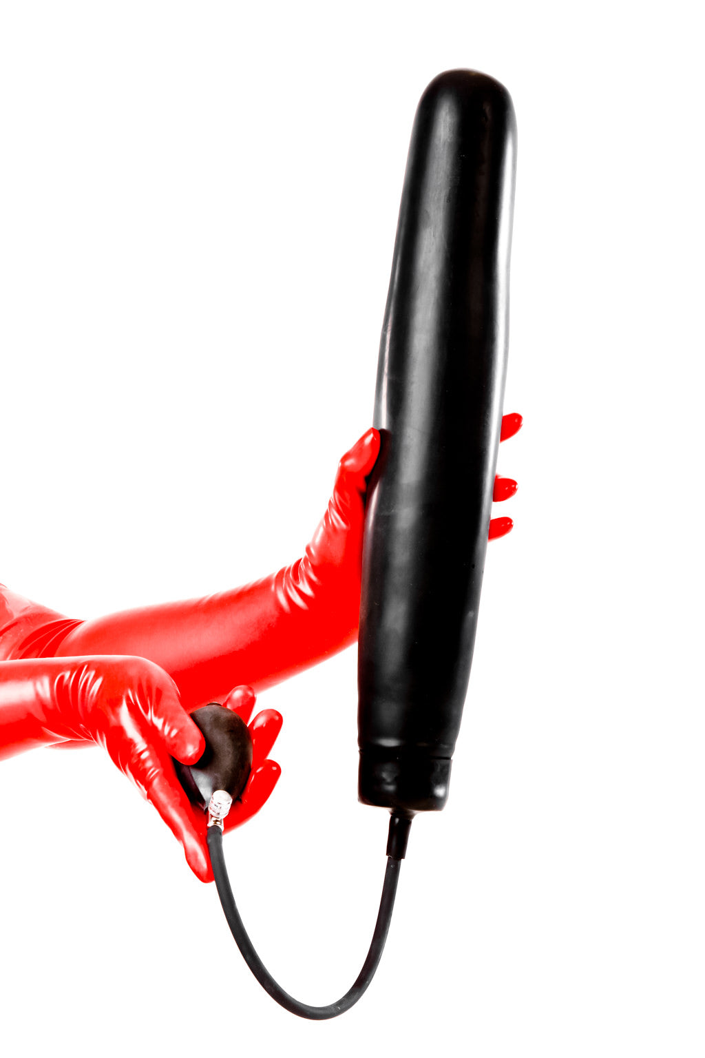 Red latex gloves holding an extra large exocet butt plug.