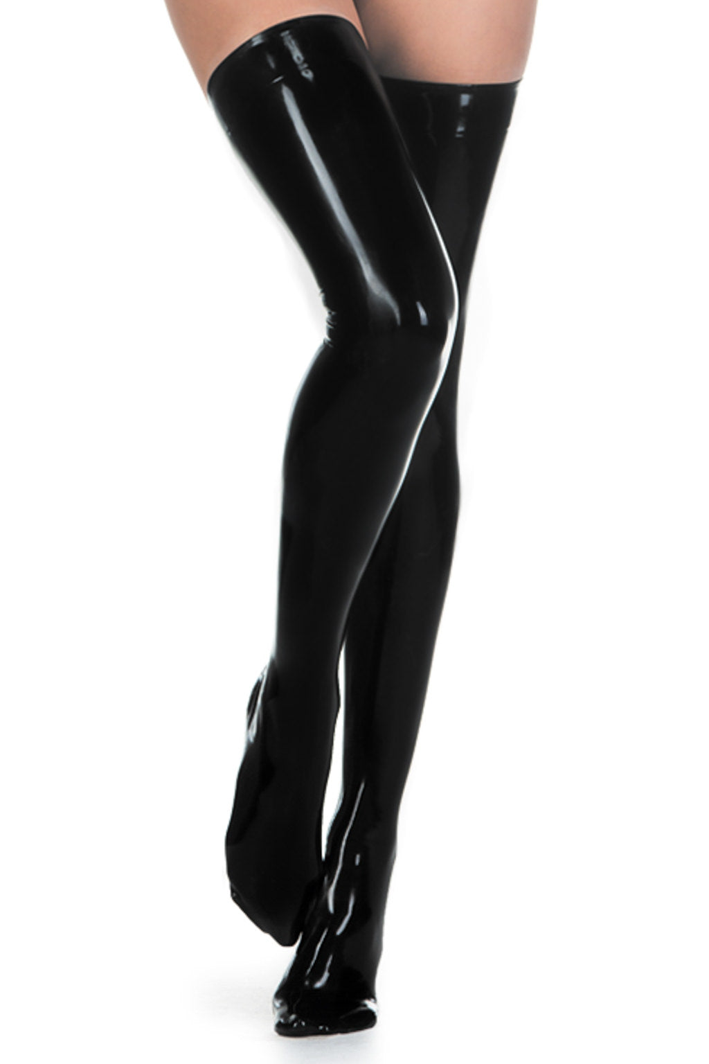 A woman wearing a pair of hand tailored smokey grey latex stockings.