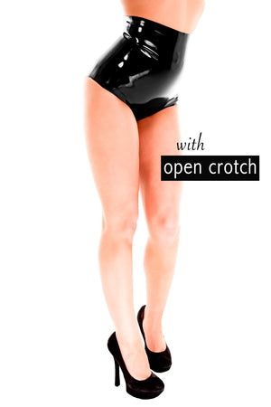 A woman wearing a pair of crotchless high waisted latex underwear.