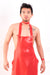 A man wearing a red latex apron and a latex choker.