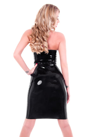 The back of a woman wearing a black latex cocktail dress.