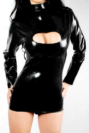 A woman wearing a latex mini dress with long sleeves and a peephole.