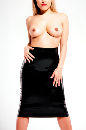 A woman wearing only a black latex pencil skirt.