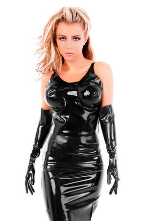 A woman wearing a latex outfit with a latex tank top.