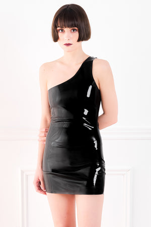 A woman wearing a black one shoulder latex mini dress.