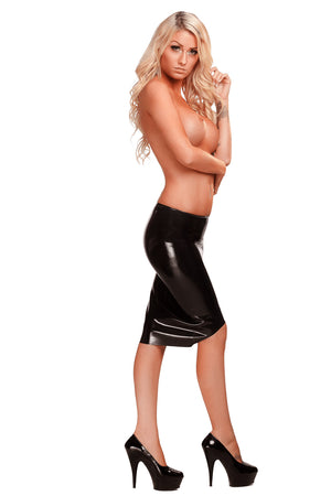A woman in high heels only wearing a black latex pencil skirt.