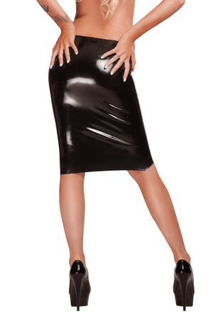 The back of a woman wearing a black latex pencil skirt.
