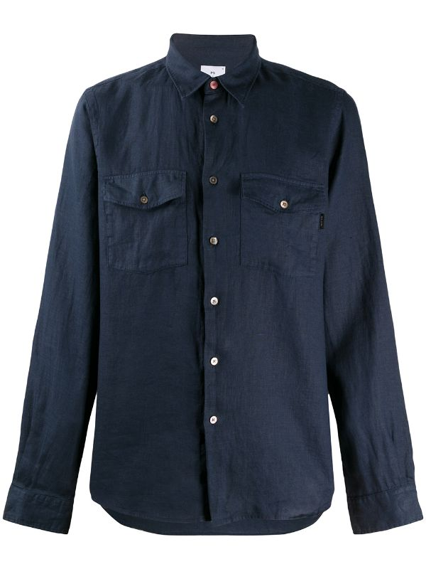 Paul Smith Tailored-fit Navy Linen Shirt