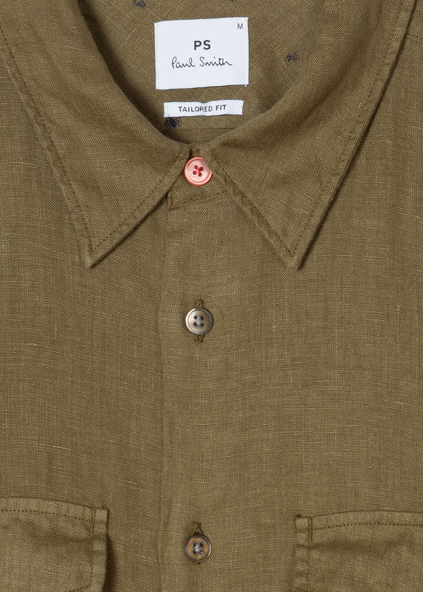 Paul Smith Tailored-fit Khaki Linen Shirt