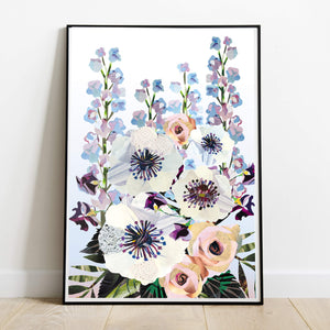 Lilac Anemone Bouquet | Collage Floral Art Print