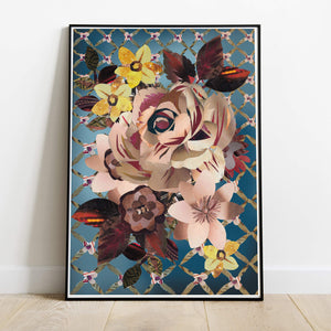 Retro Rose Art Print | Hand collaged art by J.D.Pepp