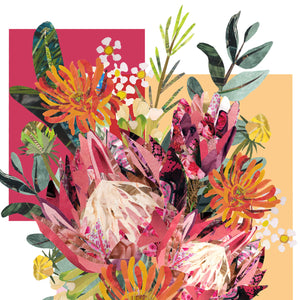 Pink Protea Colour Block | Hand collaged art from J.D.Pepp, South Wales