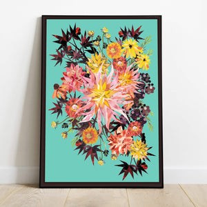 Turquoise Dahlia Burst | Hand collaged, floral, art print, burgandy, sunset, tropical