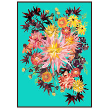 Load image into Gallery viewer, Turquoise Dahlia Burst A1 Poster ǀ Floral Wall Art
