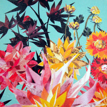 Load image into Gallery viewer, Turquoise Dahlia Burst | Hand collaged, floral, art print, burgandy, sunset, tropical