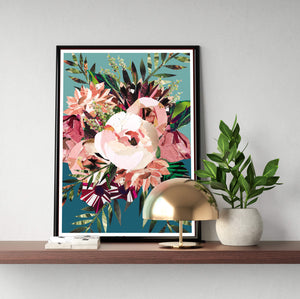 Autumn Peony Poster ǀ Botanical Home Decor