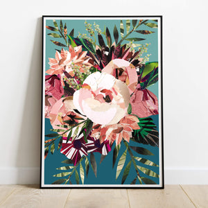 Autumn Peony Bouquet | Hand collaged, coral pink and teal floral print