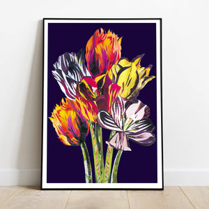 Tulip Bouquet Art Print | Hand Collaged Art Print
