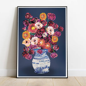 Vase of Roses | Hand collaged Floral Art Print