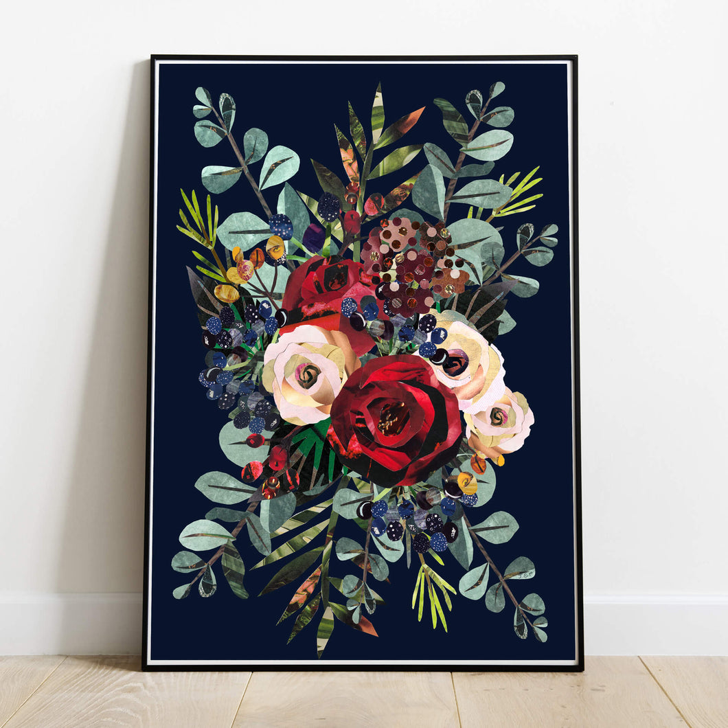 Winter Bouquet | Hand collaged, rose illustration  floral print