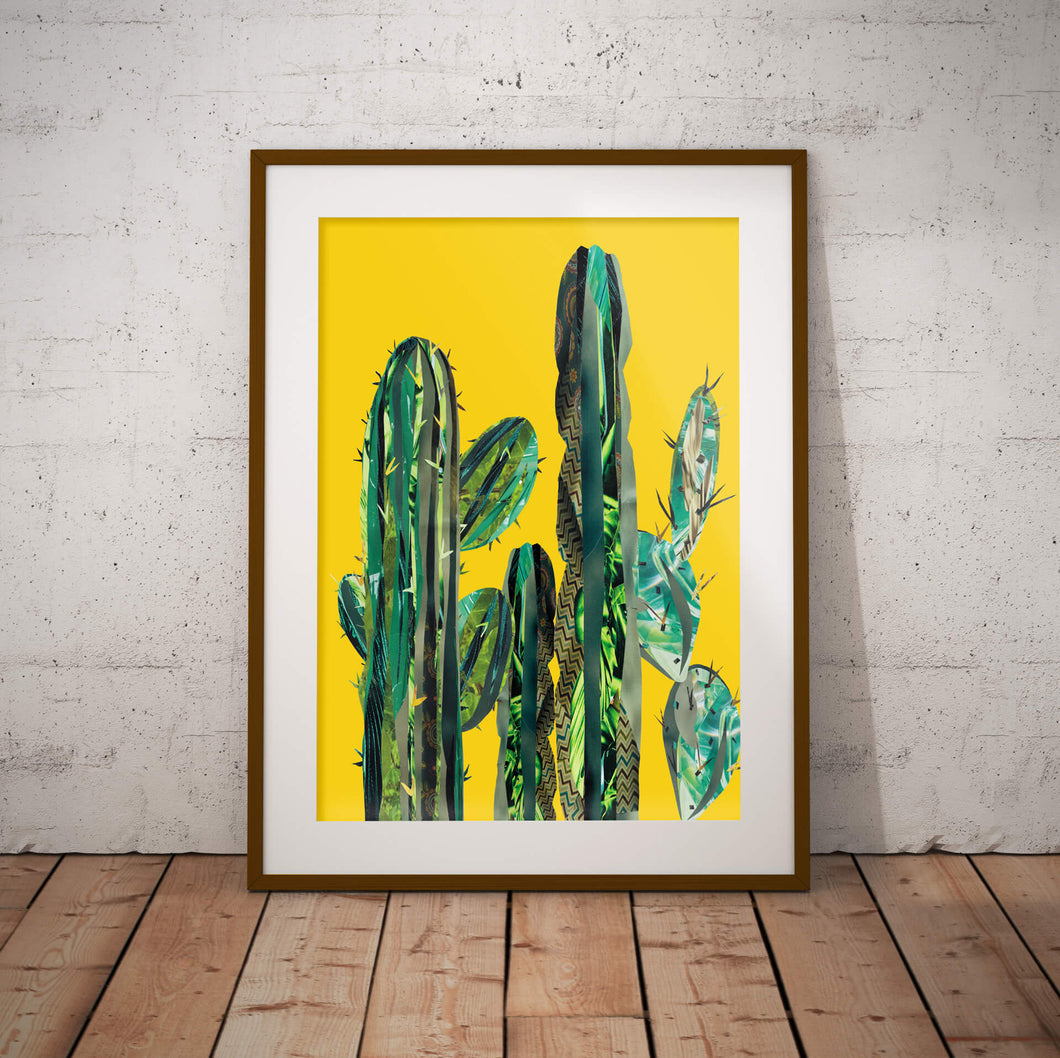 Yellow Cactus Poster ǀ Statement Wall Art