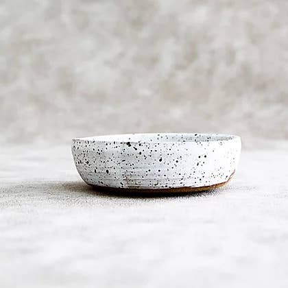 Mask Bowl - White and Black Speckled