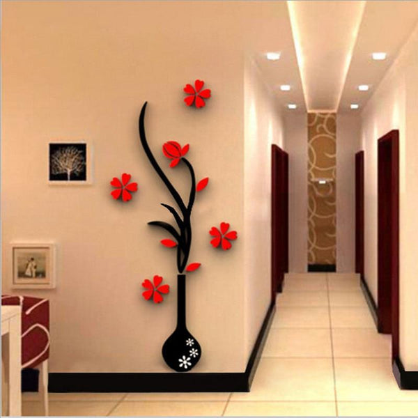3D Colorful Flower Vase Wall Sticker - Find Home Supplies