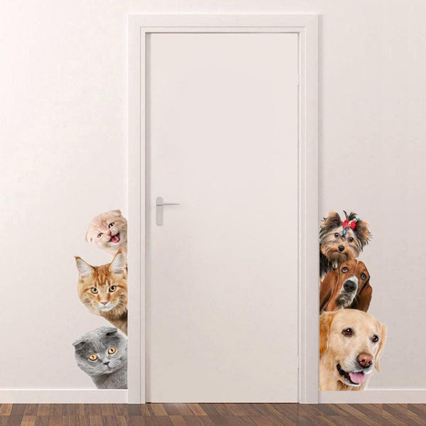 3D Funny Cats and Dog Wall Sticker - Find Home Supplies