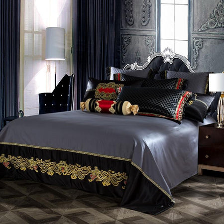 Black Silk Satin Luxury Royal Duvet Cover Set - Find Home Supplies