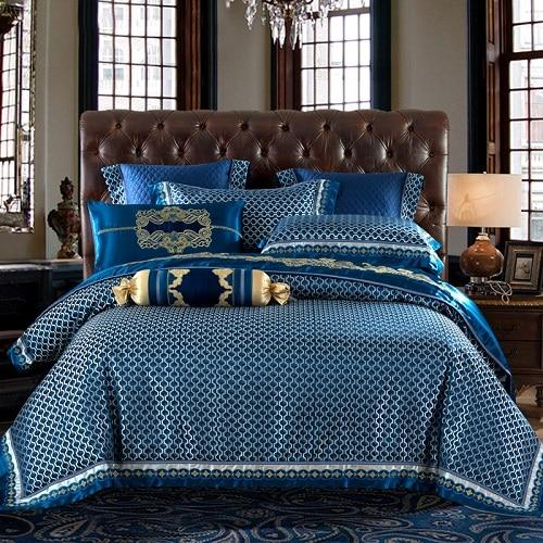 Blue Silk Satin Luxury Royal Bedding Set - Find Home Supplies