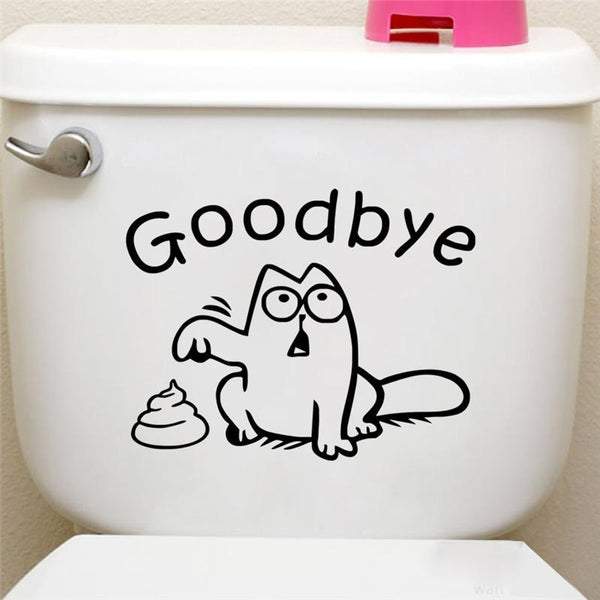 Funny Black Cat Toilet Seat Wall Sticker - Find Home Supplies