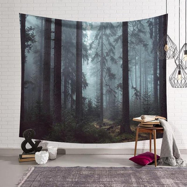 Green Forest Wall Hanging Tapestry (6 Patterns) - Find Home Supplies