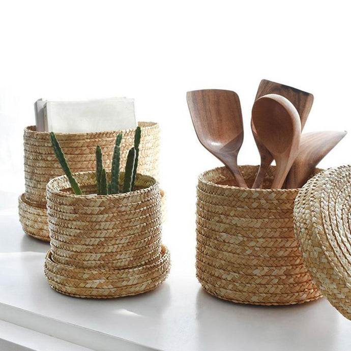 Handmade Straw Woven Storage Basket-Find Home Supplies