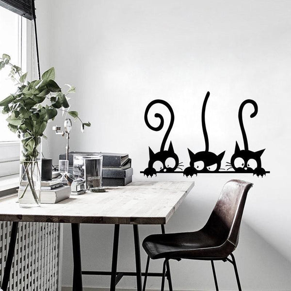 Lovely Three Black Cat Wall Stickers-Find Home Supplies