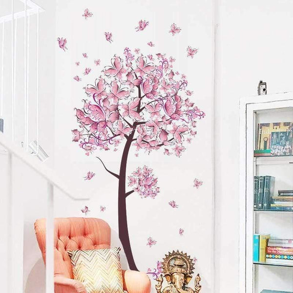 Pink Butterfly Flower Tree Wall Sticker-Find Home Supplies